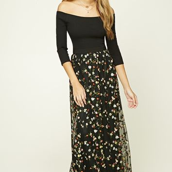 Floral Embroidery Maxi Skirt