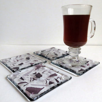 Fused Glass Coasters in Purple and Lilac, Statteam
