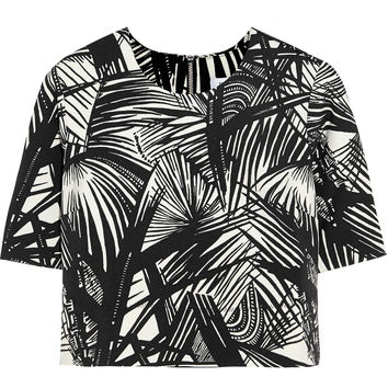Elizabeth and James - Lowell cropped printed stretch-scuba jersey top