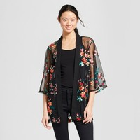 Women's Embroidered Mesh Kimono - Notations Black/Pink