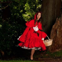 Little Red Riding Hood Halloween Costume Gothic Lolita Cosplay Cotton Dress and Hooded Capelet Short Cape Custom Size Plus Size