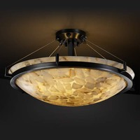 Justice Design Group ALR-9681-35-MBLK Alabaster Rocks! 18-Inch Round Semi-Flush Bowl Pendant with Ring