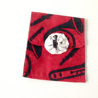 Mini Purse,  Cosmetic Bag, Hand Made, Red and Black, Music Theme Bag, Accessory Bag