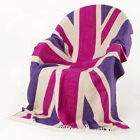 NEW! Pink Union Jack Throw Cushions & Throws Bed Linen & Rugs French Bedroom Company