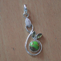 Peridot & Turquoise Pendant,Silver Turquoise Necklace,Leaf Pendant,Natural Gemstone Pendant,Green Turquoise Jewelry,100% 925 Sterling Silver