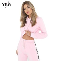 2018 Women Two Piece Set Hoodies Sweatshirt and Pant Female Casual Fitness Sportswear Set  Fall 2 Piece Set Crop Top