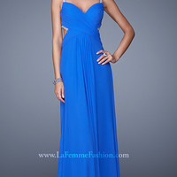 Floor Length La Femme Prom Dress with Beaded Back