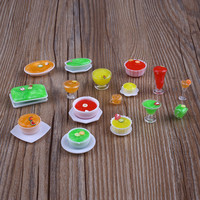 17pcs Set Dollhouse Mini Transparent Cups Dish Plate Tableware Miniatures
