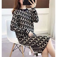 Dior women fashion knitted Long Sleeve Top + skirt two piece suit