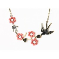 Sparrow Necklace Crystal Flower Floral Branch Swallow Bird NN22 Vintage Charm Pendant Fashion Jewelry