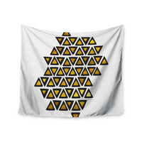 """Pom Graphic Design """"Inca Tribe"""" Gold White Wall Tapestry"""