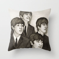 The Fab Four Throw Pillow by Helen Green