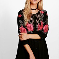 Khloe Embroidered Shirt Dress