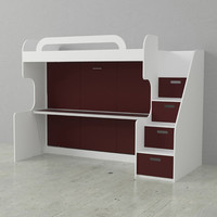 Dbl Bunk Wall Bed White Burnt Red Doors Qty of 1