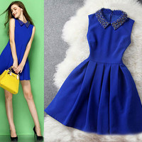 Fashion solid color beading dress