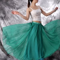 chiffon maxi skirt---------- long skirt pleated skirt golden beige orange skirt