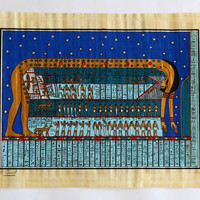 Ancient Zodiac | Ancient Egyptian Papyrus Painting