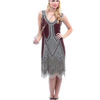 Burgundy Embroidered Reproduction 1920s Flapper Dress