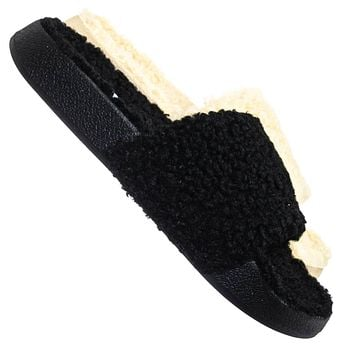 Victory01 Faux Fur Molded Footbed Slipper - Shearling Shearling Slide Sandals