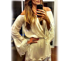 White Off-Shoulder Bell Sleeves Mini Dress with Crochet Details