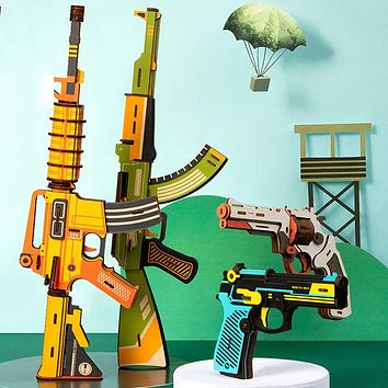 3D three-dimensional wooden puzzle wooden toy gun Children's educational gift