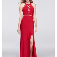 Crisscross Keyhole Long Dress with Illusion Insets - Davids Bridal