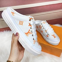 inseva LV Louis Vuitton Fashionable Women Casual Canvas Sport Mule Shoes Orange