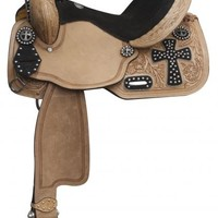 Black Studded Suede Cross-Tooled Barrel Saddle-14 or 15 inch Seat