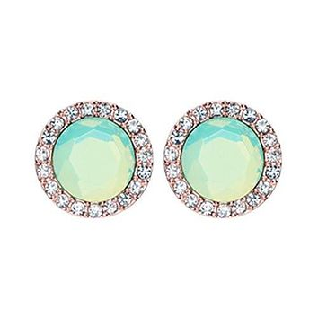 Rose Gold Round Crown Faceted Jeweled WildKlass Ear Stud Earrings (Clear/Pacific Opal)