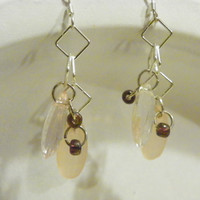 Acrylic Peach,Clear,Frosted beads on Silver-Plated Ear wire