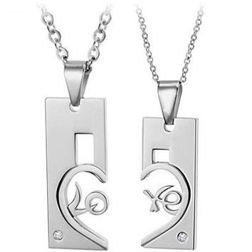 Gullei Trustmart : Connecting Love Letters matching cute couple necklace set [GTMCN014] - $13.00-Couple Gifts, Cool USB Drives, Stylish iPad/iPod/iPhone Cases & Home Decor Ideas
