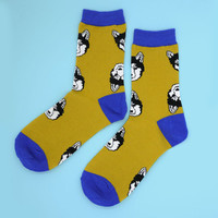 FREE SHIPPING Husky socks l Women's socks | dog face pattern socks | husky face socks