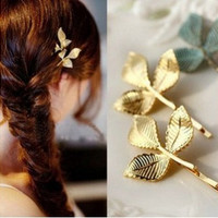 YOUMAP BRAND Jewelry Three Leaf Design Prendedor De Cabelo Gold Plating Metal Barrettes Hairclip Hair Accessories A8R2