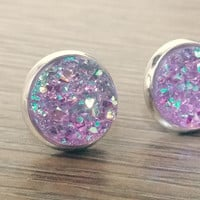 Druzy earrings-  Lavender Rainbow drusy silver tone stud druzy earrings