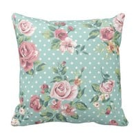 Vintage shabby chic floral teal pink girly polka