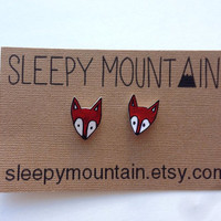Tiny Red Woodland Fox Earrings by SleepyMountain on Etsy