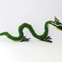 Beaded figurine Azure Dragon of the East - green seed beed statuette of orient Asian Chinese mythology creature - handmade beadwork figure