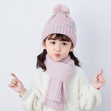 Child Hat Scarf Two-Piece Qiu Dong Children Fashion Baby Boys 1 Tide Girls Were 6 Years Old Western Style Baby In Winter