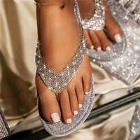 2020 New Products Women's Sequins Rhinestone Flip-Flops Outer Wear Sandals and Slippers Shoes