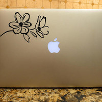 Floral Decal Floral Line Art Decal Floral Laptop Decal Custom Vinyl decal Laptop Car decal Hand drawn decal window decal custom vinyl Decal