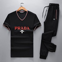 PRADA Top Sweater Pullover Pants Trousers Set Two-Piece Sportswear Black I-BJQSFS