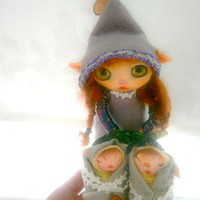 miniature clay DOLL fairy with twin brothers , big eyes ooak posable doll halloween doll SALE gift ideas christmas gift