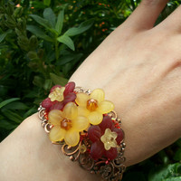 Flower Song  Lucite Flowers Filigree Cuff  by BellaLilyBoutique