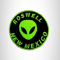Roswell New Mexico Green on Black Small Patch Iron on for Biker Vest SB797