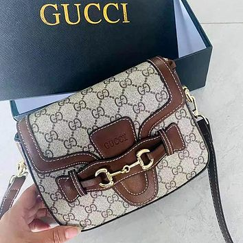 Gucci GG classic stitching leather tote bag fashion lady messenger bag