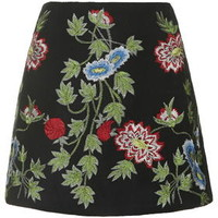 Floral Embroidered A-Line Skirt - Multi
