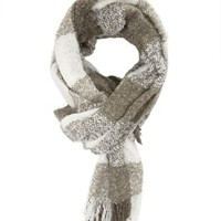 Gray Combo Marled Check Fringe Scarf by Charlotte Russe