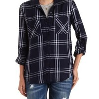Navy Combo Button-Up Plaid Top by Charlotte Russe