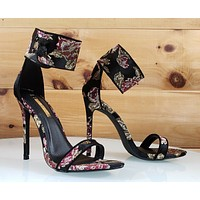 "Liliana Black Satin Embroidered Floral Ankle Strap 4.5"" High Heel Shoe"
