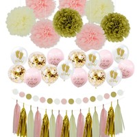 GIRL Baby Shower Party Decoration - Its A Girl BABY SHOWER | Gender Reveal Party, Pink Party Decoration, Its A Girl Balloons, Pink Tassels